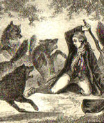 Attacked by a wolf pack in the olden time